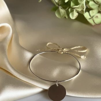 Bracelet jonc argent corde dorée avec médaille