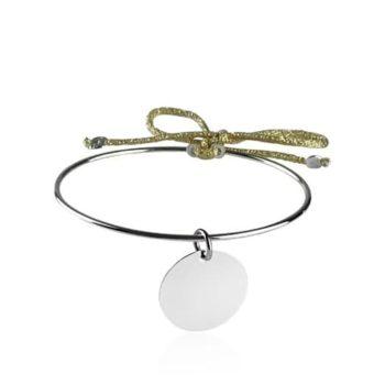 Bracelet jonc argent corde dorée avec médaille fond blanc