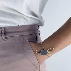 bracelet rigide corde pailletée